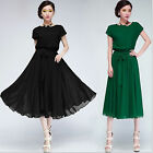 Vintage ladys Party Evening cocktail Maxi Long Slim chiffon tops dress plus size
