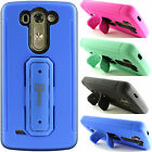 Heavy Duty Hybrid Impact Armor Phone Cover Case with Kickstand for LG G3 Vigor