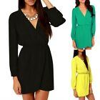 Womens Casual Fashion Chiffon Long Sleeve Short Mini Dress V-Neck Party Dress