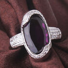 18K white gold filled creative purple sapphire crystal design rings Sz6to10