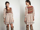 TAUPE (01) PRINTED TUNIC Shirt DRESS Bohemian Boho Baby Doll XL 1X 2X PLUS SIZE