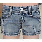 Women/Lady Denim Hot Pants Jean Shorts Distressed Ripped Fray Faded Blue Vintage