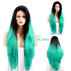"20""-28"" Long Dark Brown Roots with Blue- green Lace Front Synthetic Wig"