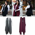 Fashion Women Plus Size Plain Long Irregular Waistcoat Sleeveless Coat Jacket