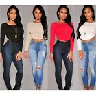 Sexy Women Long Sleeve Crop Top Bodycon Stretch Tee Back Zip Blouse T-Shirt - CB