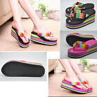 2015 New Summer Womens Girls Fashion Rainbow High Heel Platform Wedge Sandals 01