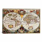 iCanvas Antique Double Hemisphere Map of The World Hondius Canvas Print Wall A
