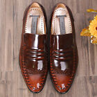 Premium Model Leather Dress Loafers Brown Mens Shoes
