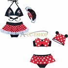 Girls Baby Kid Minnie Mouse Bikini Set Swimwear Swimsuit Bathing Suit + Hat 2-6