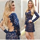 Womens Lace Dress Sexy Hollow-out Short Dress Long Sleeve