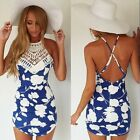 Chic Women Sexy V-Neck Lace Strap Backless Floral Printed PartyDress Shorts - CB