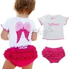 2PCs Baby Girl Toddler White Top T-shirt + Hot Pink Shorts Pants Clothes Outfit