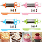 6 PIECE ICING SYRINGE CAKE DECORATING PIPING KIT SUGARCRAFT CUP STAINLESS STEEL