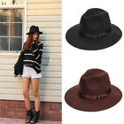 Women Lady Soft Wool Felt Fedora Floppy Cloche Wide Brim Bowknot Bowler Hat Cap
