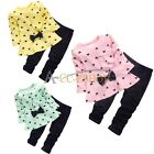 2PC Baby Girls Kids Bowknot Heart T-shirt Top + Pants Set Cotton Outfit Clothing