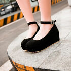 Sweet Girl's Round Toe Ankle Strap Creeper High Platform Wedge Heels Shoes Pumps