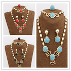 In 3 Color Women 18K GoldPlated Austrian Crystal Roundness Necklace Jewelry Sets
