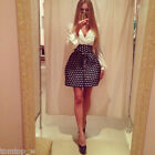White Chiffon Polka Dot Patchwork Side Zipper Deep V Neck Long Sleeve Mini Dress