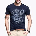 Men Tiger Print T-shirt Graphic Short Sleeve Crew Neck Tee Cotton Fashion Blue