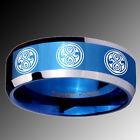 Tungsten 8 Doctor Who Shiny Blue IP Beveled Edge Engraved Ring Sz 4-14