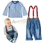 Baby Boy Striped Long Sleeve Top Denim Jeans Overall Pants Outfit Set Size 1 2 3