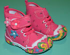 NEW Girls Flower Canvas Boots Shoes Fuchsia Toddler Size US 2,3,4,5,6,7