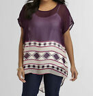LYS Love Your Style Blouse Shirt Short Extra Long Sexy Dark Purple Stripe  NEW