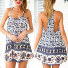 Sexy Women Elephant Print Cocktail Party Evening Beach Mini Dress Size 8-14