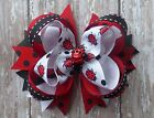LADYBUG hair bow headband boutique Red black clip toddler girl button Cici's