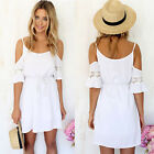 Fashion Women Sexy Lace Casual Spaghetti Strap Short Mini Beach Dress Reliable
