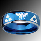 Tungsten Triforce & Legend of Zelda Blue Glossy Dome 2 Tone Band Ring Sz 4-14