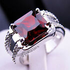 Size 6-12 Red Ruby Big Stone Ring White Gold Filled Wedding Party Jewelry