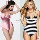 Women Girl Striped MONOKINI SWIMSUIT SWIMWEAR One Piece Bathing Bikini Bodysuit