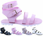 Ladies Womens Ankle Strap Gladiator Cleated Chunky Platform Sandals Shoes Size