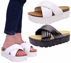 Ladies Womens High Heel Slip On Platform Chunky Cleated Mules Sandals Shoes Size