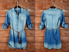 SALE* DARK BLUE (89) DENIM Wash Belted SHIRT DRESS BUTTON UP TOP Chambray S M L