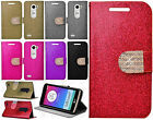 For LG Leon C40 Diamante Glitter Leather Wallet Pouch Flip Phone Cover Accessory