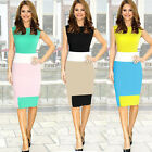1PC Women Sleeveless Elegant Work Mini Bodycon Stretch Pencil Dress Reliable