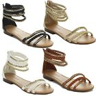 Bella Marie Tevo-1 Women's Back Zip Metal Chain Accent Flat Sandals