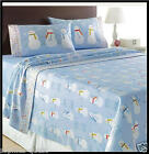 BLUE SNOWMAN Snowmen EXCELLENT HEAVY Weight Brushed Cotton FLANNEL Sheet Set NEW