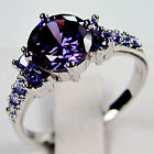 5.80/ct Purple Amethyst Gems Wedding Ring Women's Silver Plated Jewelry Size6-10
