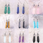New Mixed Natural Crystal Agate Lapis Opal Amethy Turquoise Dangle Earrings