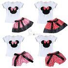 2PC Baby Toddler Girl Minnie Mouse Bow T Shirt Top +Skirt/Bloomer Pants Outfits