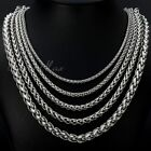 3-10mm Boys Mens Chain Stainless Steel Wheat Link Silver Tone Necklace Gifts DIY
