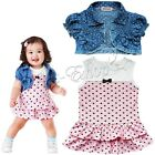 Newborn Baby Girl Heart Bow Top Outfits Tutu T Shirt  Dress + Sshrug Clothes Set