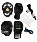 STARTER TRAINING PACK BOXING GLOVES FOCUS PADS HAND WRAP SKIPPING ROPE INNER MMA
