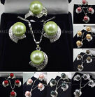 8colors Fashion Jewelry Shell Pearl Gemstones Earrings Ring Pendant Necklace Set