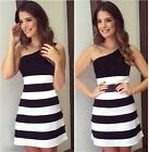Summer Women Sexy One-Shoulder Strapless Dress Striped Gown Party Bandage Dress