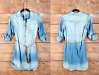 LIGHT BLUE (89) DENIM Wash Belted SHIRT DRESS BUTTON UP TOP Cuff Chambray S M L