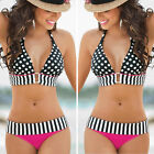 Women's Polka Stripe Top Botton Striangle Push-Up Hot Bikini Fashion Swimwear